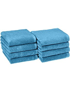 Amazon Basics Quick Dry Hand Towels   100 Percents Cotton, 8 Pack, Lake Blue by Amazon Basics
