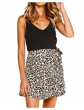 Salamola Women's Leopard Asymmetrical Ruffles High Waist Printed Cute Casual Mini Skirt by Salamola