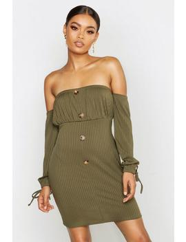 Off The Shoulder Button Bodycon Mini Dress by Boohoo