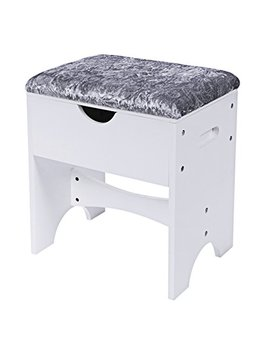 Bewishome Vanity Stool Bedroom Makeup Vanity Bench Piano Seat With Upholstered Seat And Storage, White Fsd01 M by Bewishome