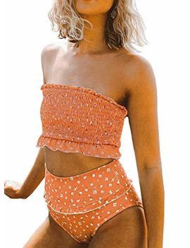 Aleumdr Womens 2 Pieces Bandeau Bikini Swimsuits Off Shoulder High Waist Bathing Suit by Aleumdr