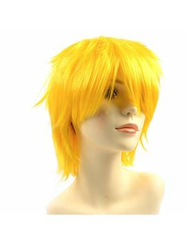 Modernfairy Hair Heat Resistant Synthetic Wig Short Glueless Costume Full Wigs With Bangs Cosplay Party For Women Men Yellow by Modernfairy Hair