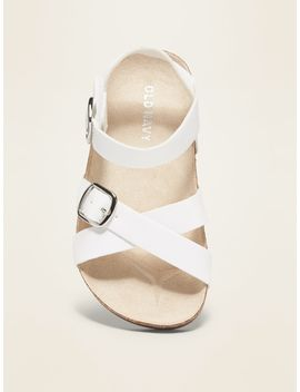 Faux Leather Cross Strap Sandals For Toddler Girls by Old Navy