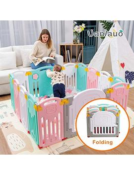 Foldable Baby Playpen Kids Activity Centre Safety Play Yard Home Indoor Outdoor New Version (Bear) by Uanlauo