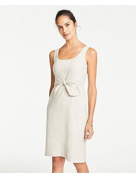Linen Blend Tie Front Sheath Dress by Ann Taylor