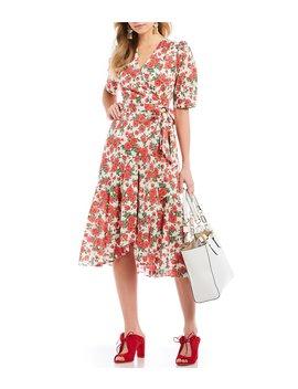 Made With Liberty Fabrics Gilly Floral Print Tie Waist Ruffle Hem Midi Dress by Antonio Melani