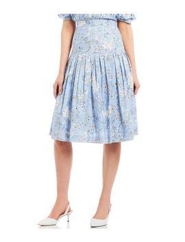 Bliss Floral Print Pleated Midi Skirt by Antonio Melani
