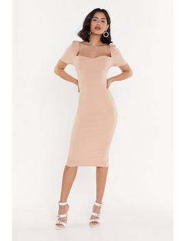 Cup Detail Puff Sleeve Midi Dress by Nasty Gal