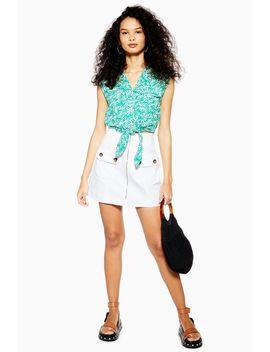 White Horn Button Denim Mini Skirt by Topshop