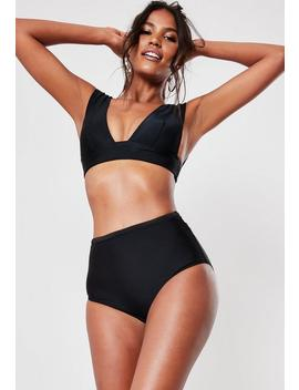 Black Mix And Match Super Plunge Bikini Top by Missguided