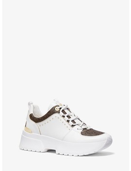 Cosmo Studded Leather And Logo Trainer by Michael Michael Kors
