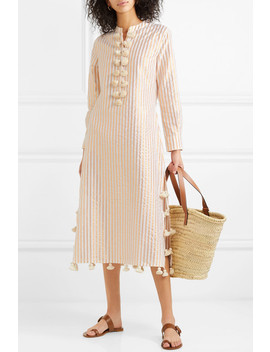 Paolina Tasseled Striped Cotton And Lurex Blend Dress by Figue