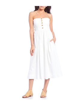 Lilah Pleated Convertible Strapless A Line Midi Dress by Free People