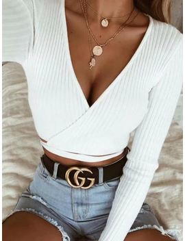 White Ribbed V Neck Tie Detail Long Sleeve Chic Women Crop Top by Choies