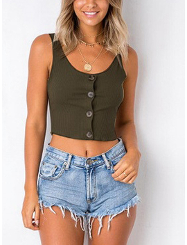 Green Button Placket Ribbed Crop Tank by Choies