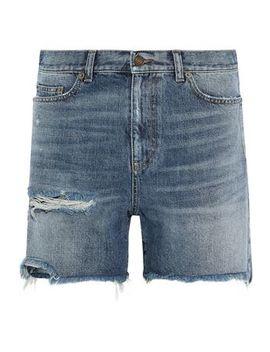 Distressed Denim Shorts by Saint Laurent