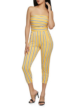 ruched-leg-striped-jumpsuit by rainbow