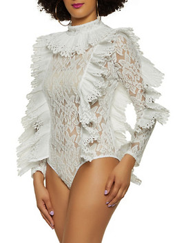 Pleated Detail Lace Bodysuit by Rainbow