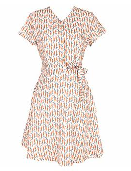 Sidecca Women's Vintage Style Carrot Print Button Down A Line Dress by Sidecca