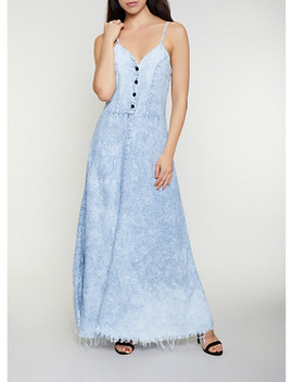 star-print-denim-maxi-dress by rainbow