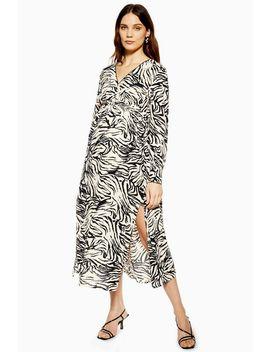 **Maternity Zebra Ruched Midi Dress by Topshop