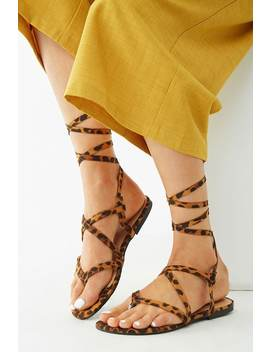 Faux Suede Leopard Print Lace Up Sandals by Forever 21