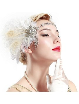 Babeyond Vintage 1920s Flapper Headband Roaring 20s Great Gatsby Headpiece With Peacock Feather 1920s Flapper Gatsby Hair Accessories by Babeyond