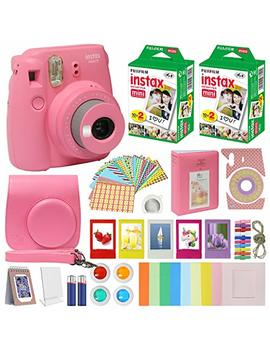 Fujifilm Instax Mini 9 Instant Kids Camera Flamingo Pink With Custom Case + Fuji Instax Film Value Pack (40 Sheets) Accessories Bundle, Color Filters, Photo Album, Assorted Frames, Selfie Lens + More by Mini Mate