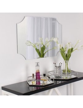 Design Ovation Reign Frameless Rectangle Scalloped Beveled Mirror by Designovation