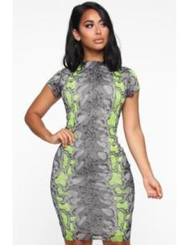 Medusa Midi Dress   Neon Yellow by Fashion Nova