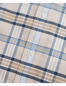 Non Iron Milano Fit Tan Plaid Sport Shirt by Brooks Brothers