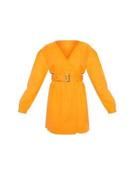 Bright Orange Belted Wrapover Denim Dress by Prettylittlething
