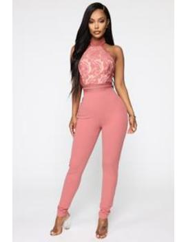 Teisha Lace High Neck Jumpsuit   Mauve by Fashion Nova