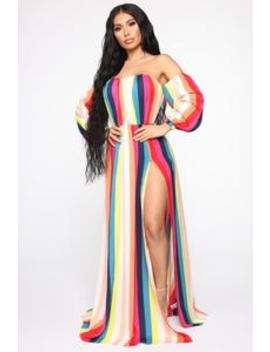 Dinner On The River Stripe Maxi Dress   Multi Color by Fashion Nova