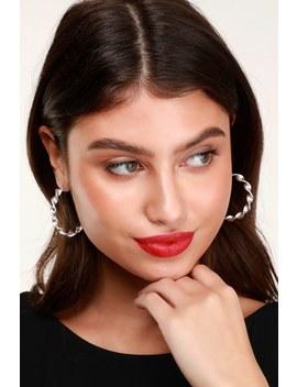 Twist Of Fate Silver Hoop Earrings by Lulus