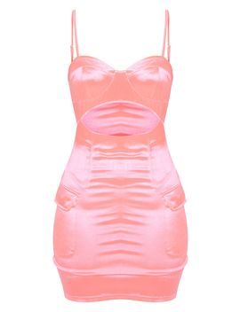 Neon Pink Satin Cut Out Pocket Detail Bodycon Dress by Prettylittlething