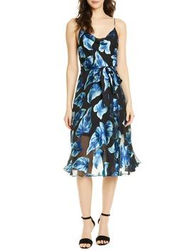 Nan Floral Drape Detail Midi Dress by Alice + Olivia