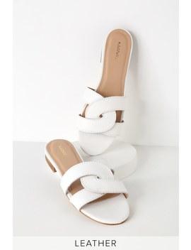 Santorini White Leather Slide Sandals by Kaanas