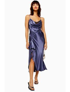 Navy Lace Back Satin Slip Dress by Topshop