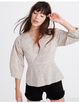 Petite Florentine Peplum Top In Daisy Patch by Madewell