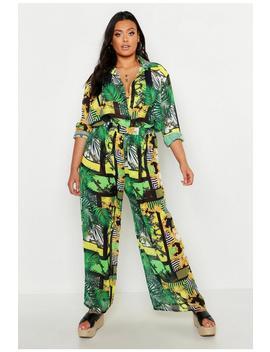 Plus Chain Print Wide Leg Beach Trouser by Boohoo