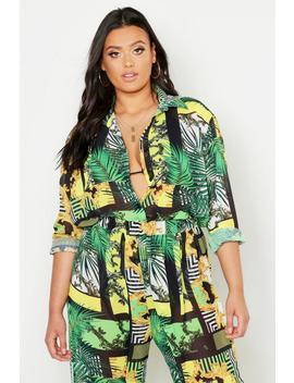 Plus Chain Print Oversized Beach Shirt by Boohoo