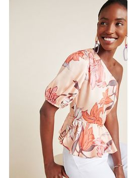 One Shoulder Floral Peplum Blouse by D Ra