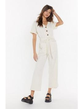 Button Top Of The World Cropped Belted Jumpsuit by Nasty Gal