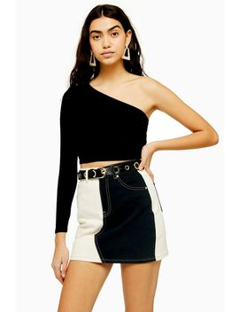 Long Sleeve One Shoulder Ribbed Top by Topshop