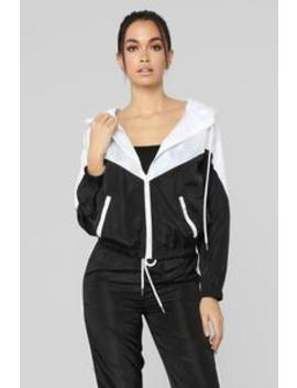 Mia Windbreaker Jacket   Black/White by Fashion Nova