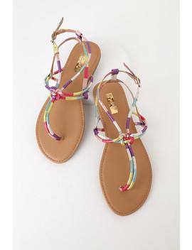 Janyce Rainbow Metallic Flat Sandals by Lulu's