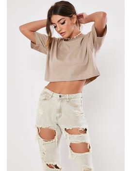 Sand Crew Neck Crop Top by Missguided