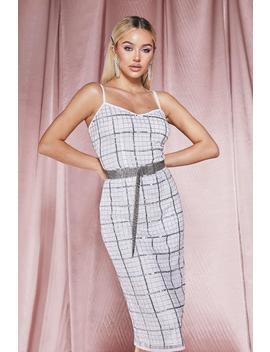 Premium Hand Embellished V Neck Midi Dress by Boohoo