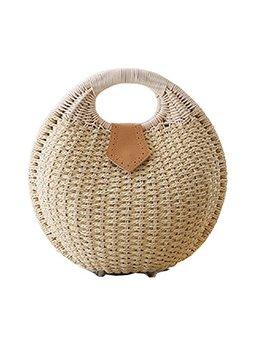 Pulama Wicker Woven Crossbody Straw Beach Bucket Summer Fashion Vacation Women Top Handle Handbag by Pulama
